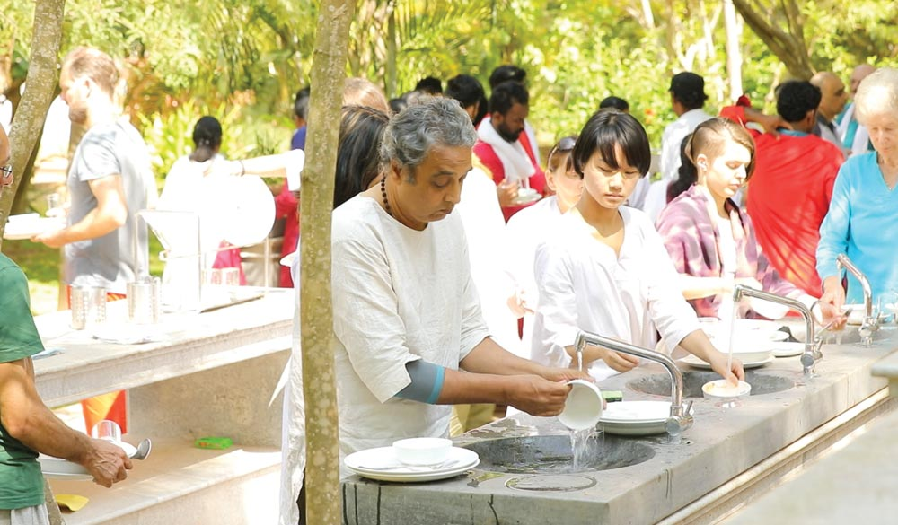 Seva Sri Vast center dining in the green